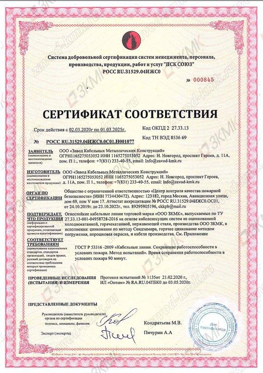 Сертификат ОКЛ (огнестойкая кабельная линия)