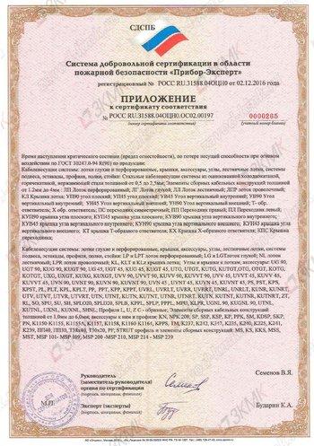 Пожарный сертификат продукции ЗКМК - приложение 1